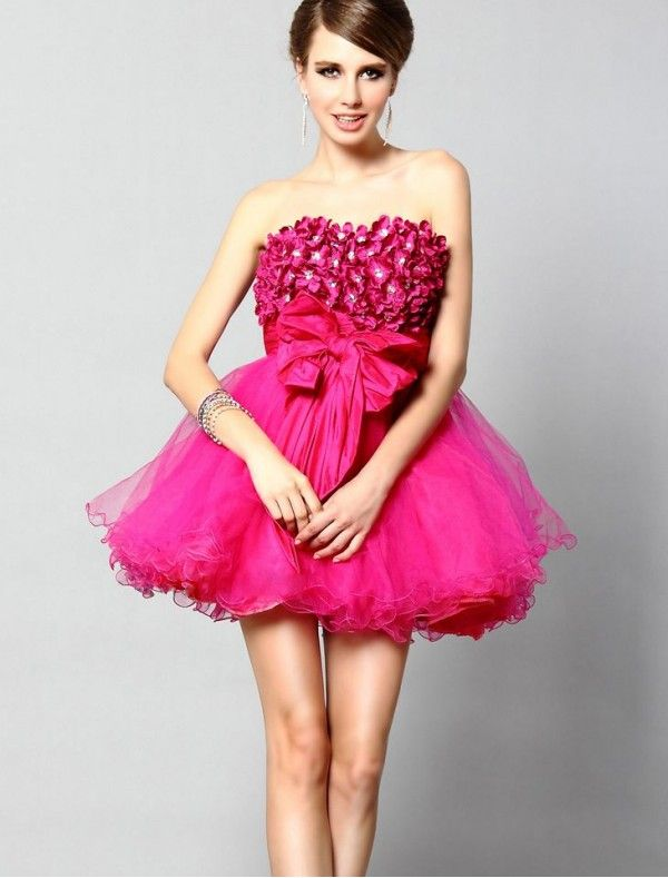 Tulle Strapless A-Line Cocktail Dress with Short Fluffy Skirt ...