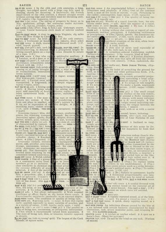 Gardening Tools Printed On Old Pages Of A Dictionary