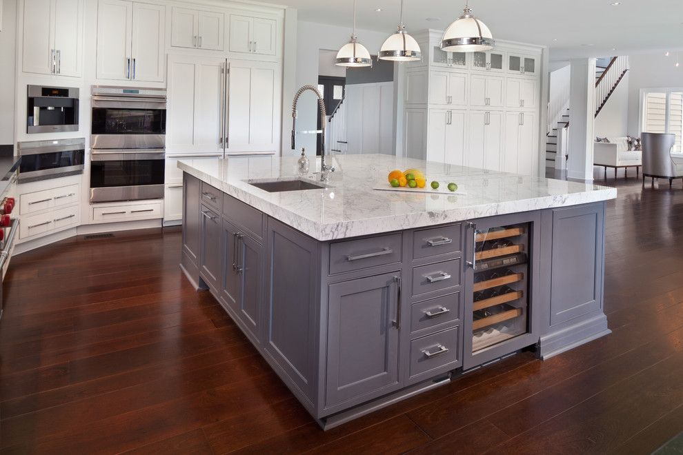 Kitchen Islands With Sink In Kitchen Transitional With Gray Kitchen Island Beverage Cooler Custom Kitchen Island Large Kitchen Layouts Kitchen Island Design