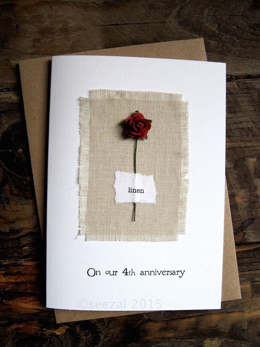 4th Anniversary Keepsake Card LINEN. Natural Linen Fabric