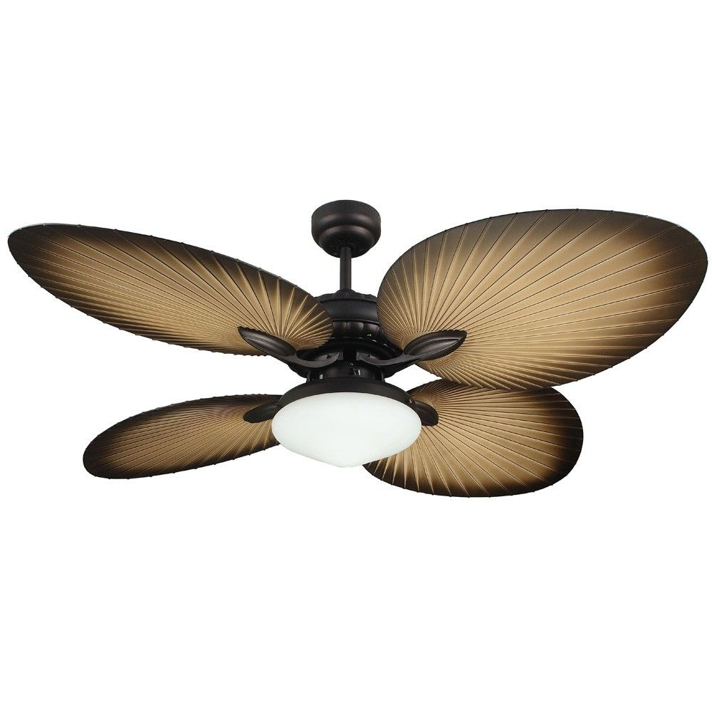 Martec Oasis Palm Leaf Ceiling Fan With Light Kit Mof134ob
