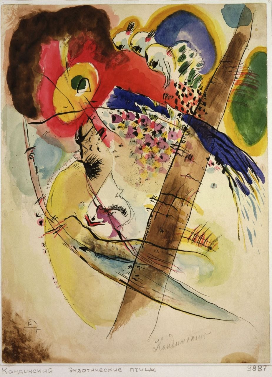 """Wassily Kandinsky - Exotic Birds, 1915 """"The more frightening the ..."""
