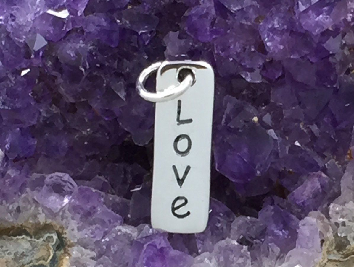 Love Charm, Love Tag, Sterling Silver Charm, Sterling Silver Love Tag, Sterling Silver Vertical Love Tag