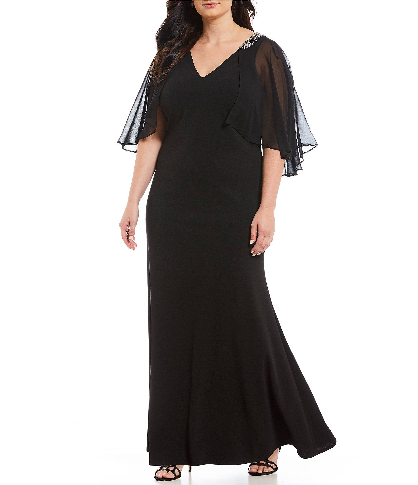 Jessica Howard Plus Size Cape Back VNeck Gown #Dillards ...