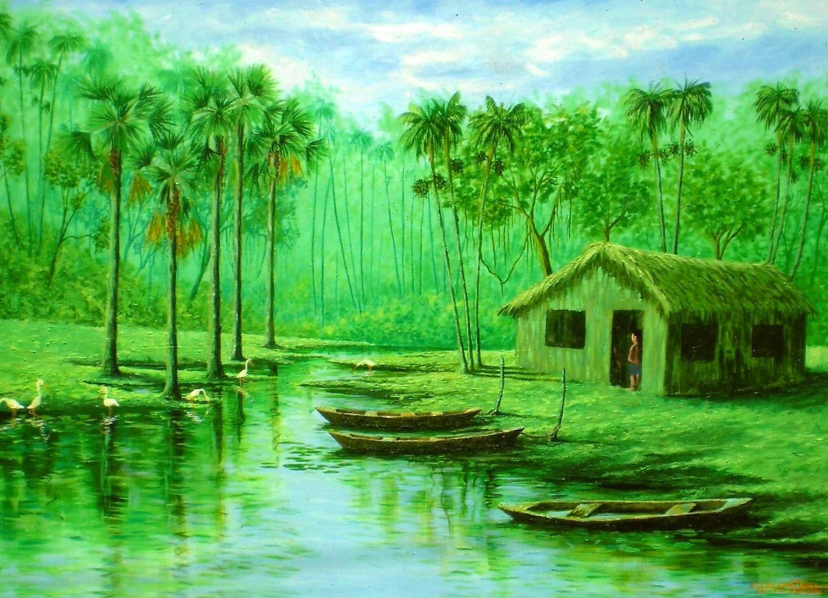 Pequeno Igarapé (2007). Acrílico sobre  tela de Jeriel.  Dimensões: 104,5 x 75,5cm. Coleção particular - AP.