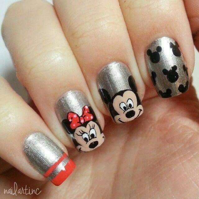 Unhas Mickey e Minnie | Decor ideas | Pinterest | Arte uñas, Uñas ...