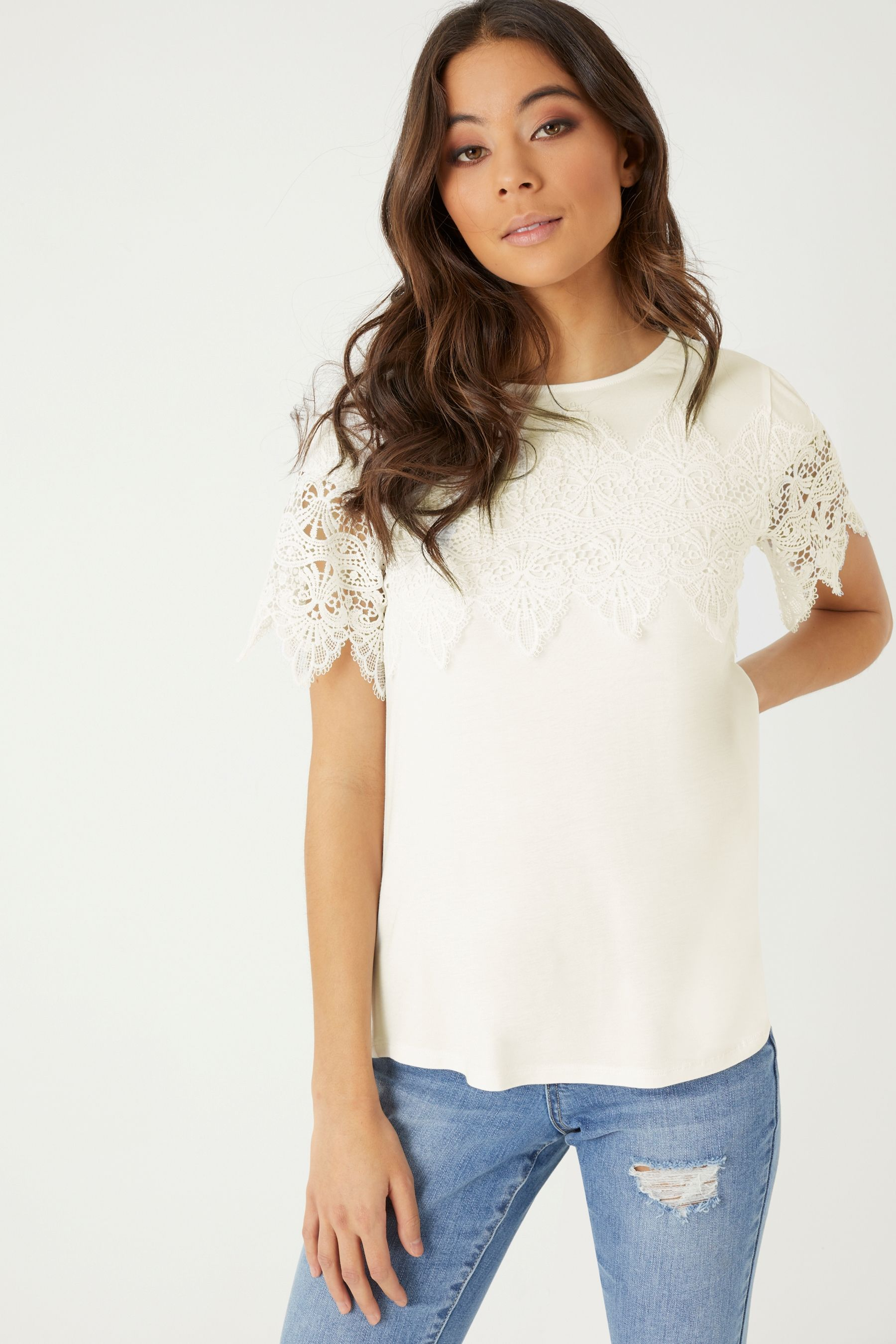 8d8d6eca46f Womens Lipsy Lace Trim T-Shirt - White