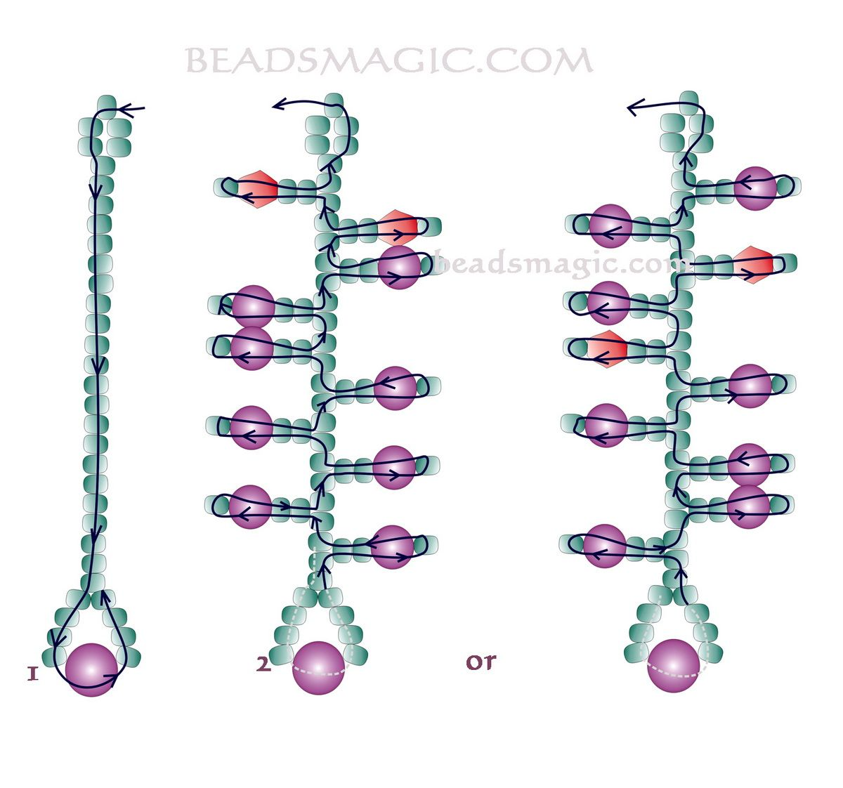 Free pattern for beaded earrings Currant | Beads Magic ...
