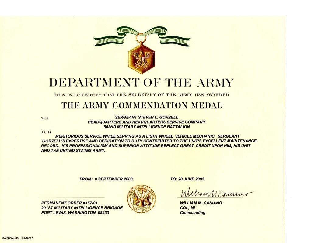 Best Good Conduct Certificate Template In 2021 Certificate Template Army Template Certificate Of Achievement
