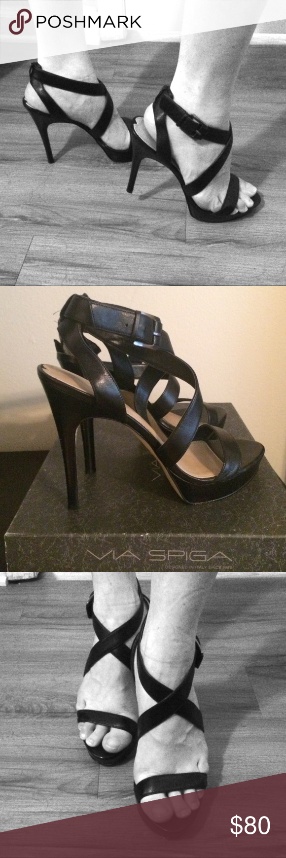 280370fd413 Via Spiga Black Strappy Platform Heels Love these shoes so sexy and fun.  For being a sexy shoe they are very comfortable to wear because if the  platform.