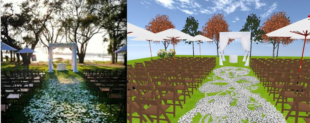 Outdoor wedding by WED~Wedding Event Design. Come walk around in 3D! http://www.eventsclique.com/eventdesigner/Main2.html?p=268935825