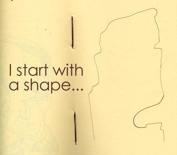 'explaining to students that inspiration can come from even a small shape' Følg linket og se hvad han får ud af formerne - han er overlegen