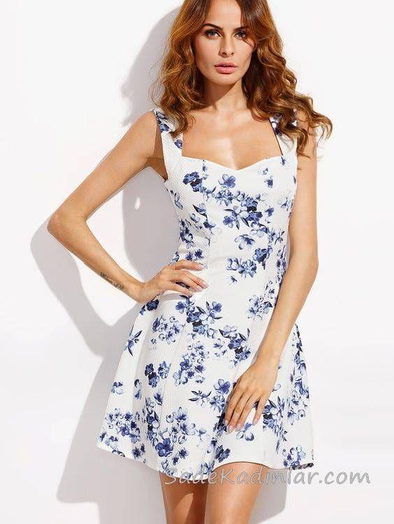 2020 Yazlik Kisa Elbise Modelleri Beyaz Kisa Kalin Askili Kalp Yaka Cicek Desenli Elbise Modelleri Elbise Mini Elbiseler