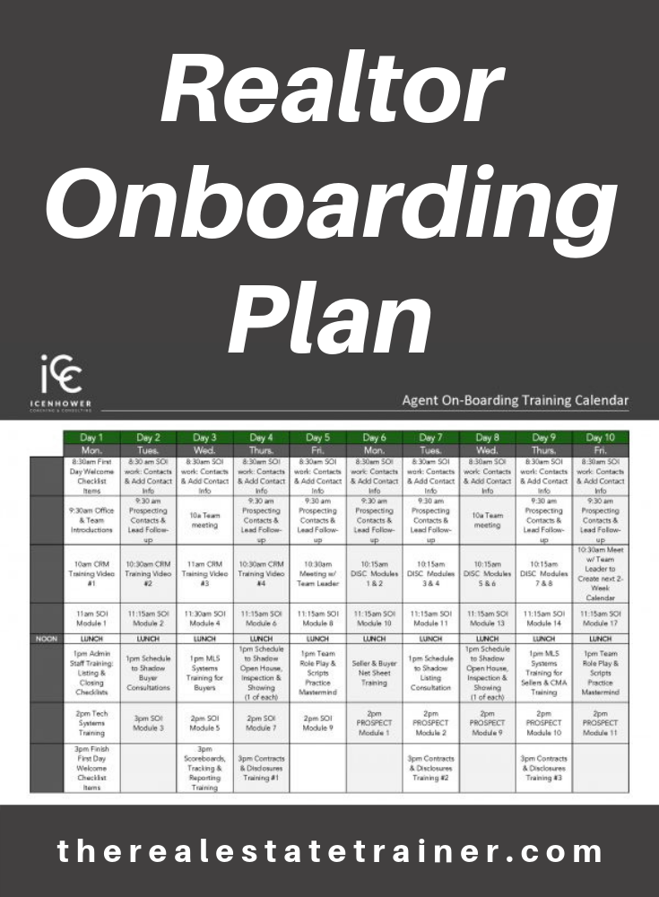 Learn how the use of an effective realtor onboarding plan can dramatically increase the production of real estate agents in a brokerage or on a real estate team. Next, you'll want to watch our video about creating and implementing a onboarding program before taking a look at our sample realtor onboarding plan below. # #icenhowercoaching #therealestatetrainer #Realestate #Realty #Realtor #Realestateagent