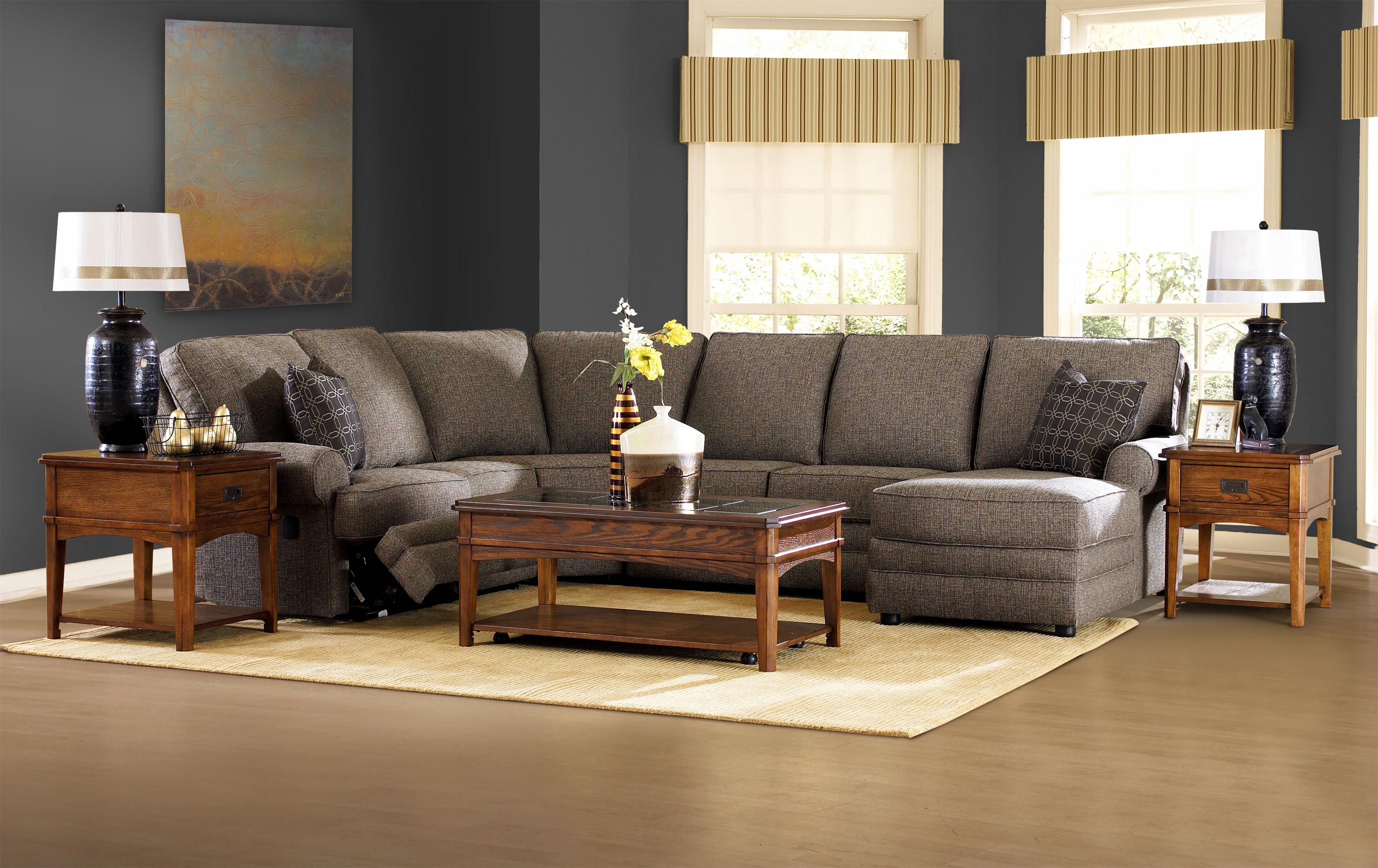 Hudson Leather Sofa Belleview Reclining Sectional With Right-side Chaise By