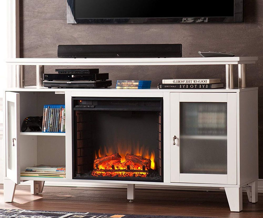 White Fireplace Tv Stand 70 Modern Quartz Infrared Chrome Mantel Media Storage Tvfurniture Modern White Fireplace Fireplace Tv Stand Tv Furniture