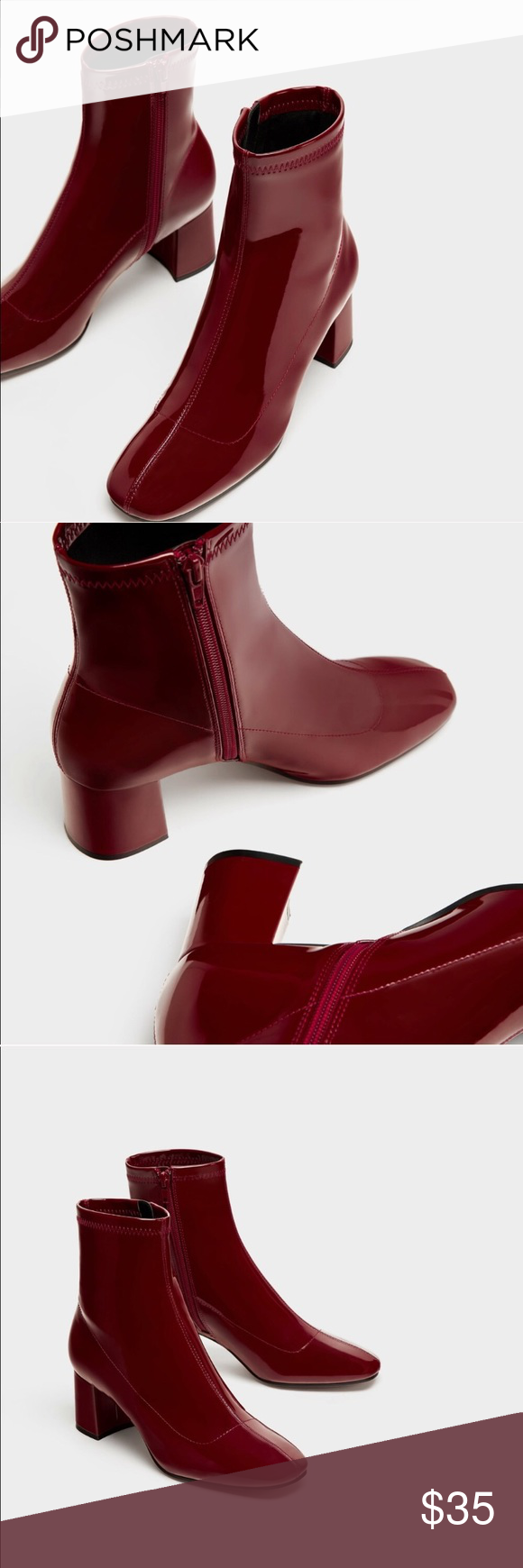 5ca213d9b87 NWT! Burgundy Patent Zara Booties never worn - brand new with tags ...