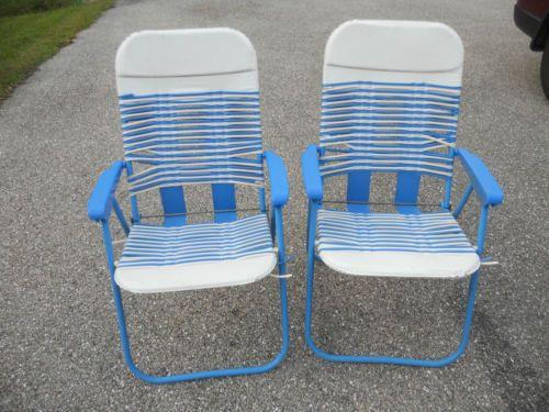 VTG PLASTIC CUSHION TUBE WEBBED FOLDING Patio Lawn Chair SET Of 2 BLUE
