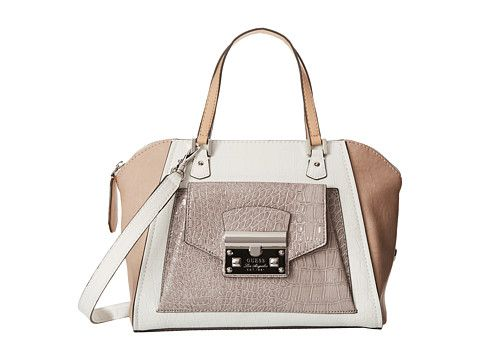 GUESS Alma Mater Uptown Satchel White Multi - 6pm.com