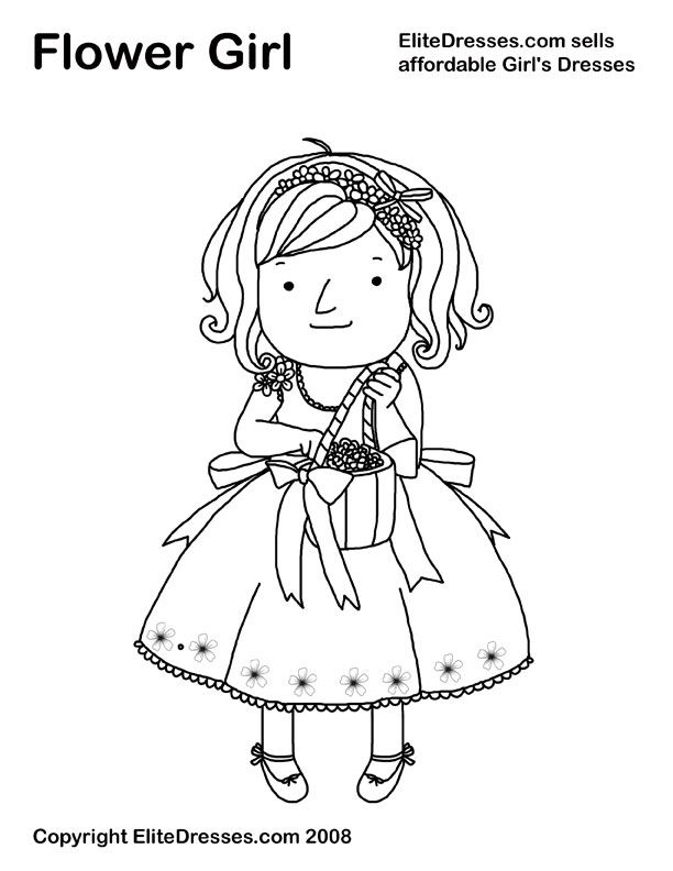 Here Is Our Free Flower Girl Coloring Page Have Your Girls Color One For Scrapbook