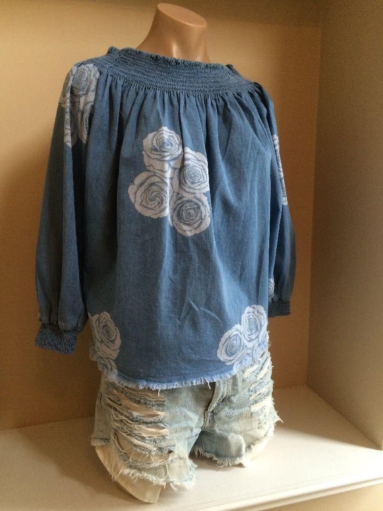 One x One Teaspoon Revolve Denim Rose Cotton Shirt Top Sz XS Adorable | eBay