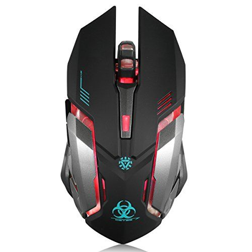 Wireless Gaming Mouse VEGCOO C8 Silent Click Wireless Rechargeable Mouse with Colorful LE