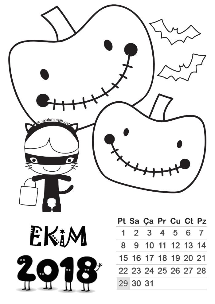 2018 Takvim Yapımı Standart 2018 Takvimi Calendar Preschool Ve