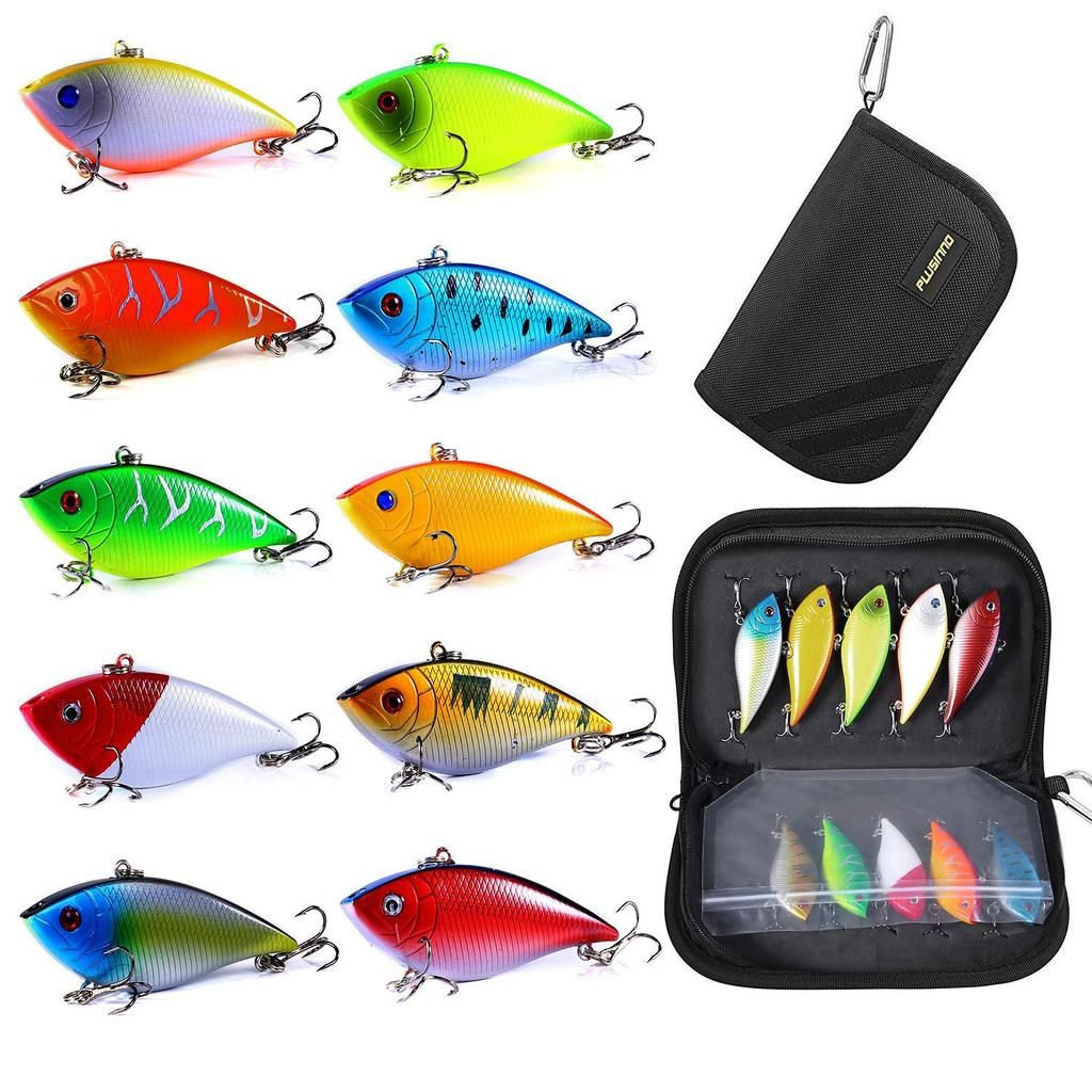 PLUSINNO 10pc. Spinner Lures with Portable Carry Bag | Best