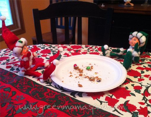 elf on the shelf ideas - eating christmas cookies