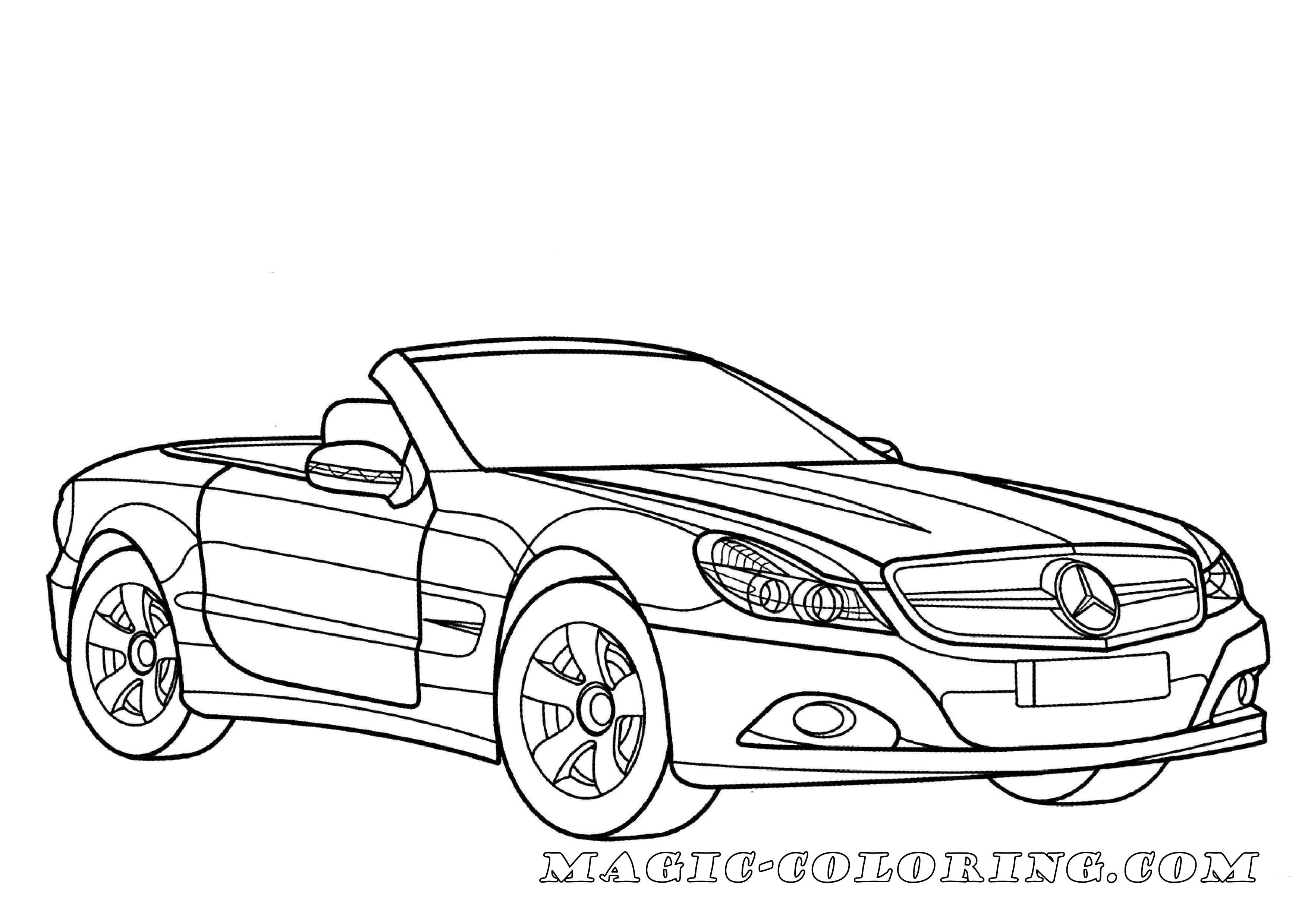 Transportation Coloring Pages 車 ベンツ 插画 画