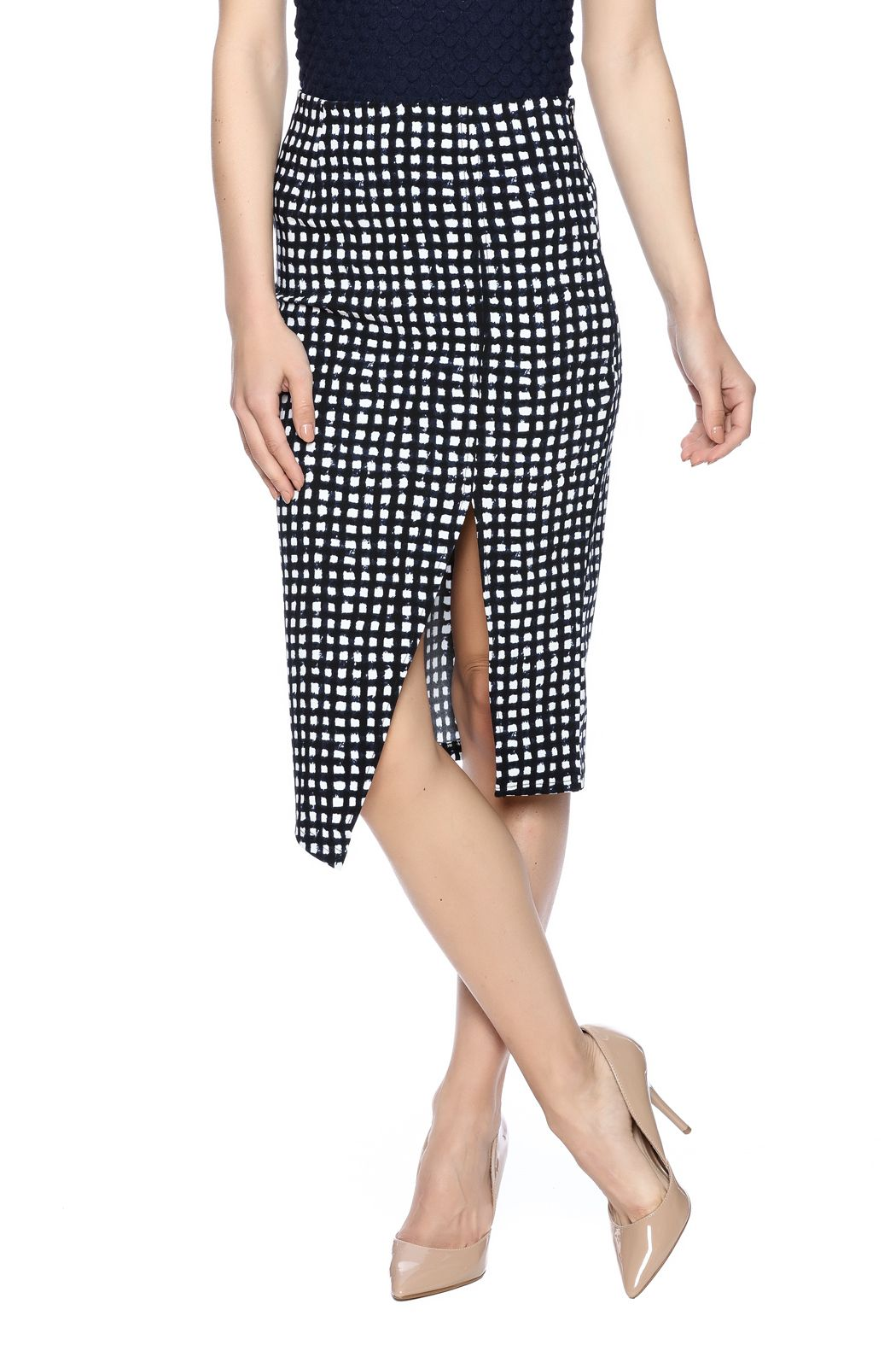 Black and navy geometric printed pencil skirt with side slit. Stretch fabric.   Pencil Me In Skirt by Lucy Paris. Clothing - Skirts - Pencil Colorado