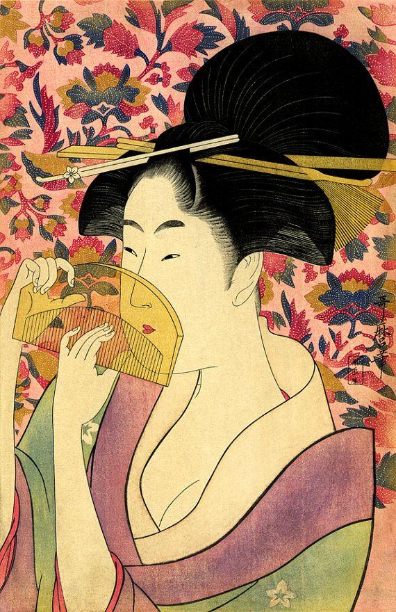 Japanese art, beautiful japanese geisha Utamaro FINE ART PRINT ...