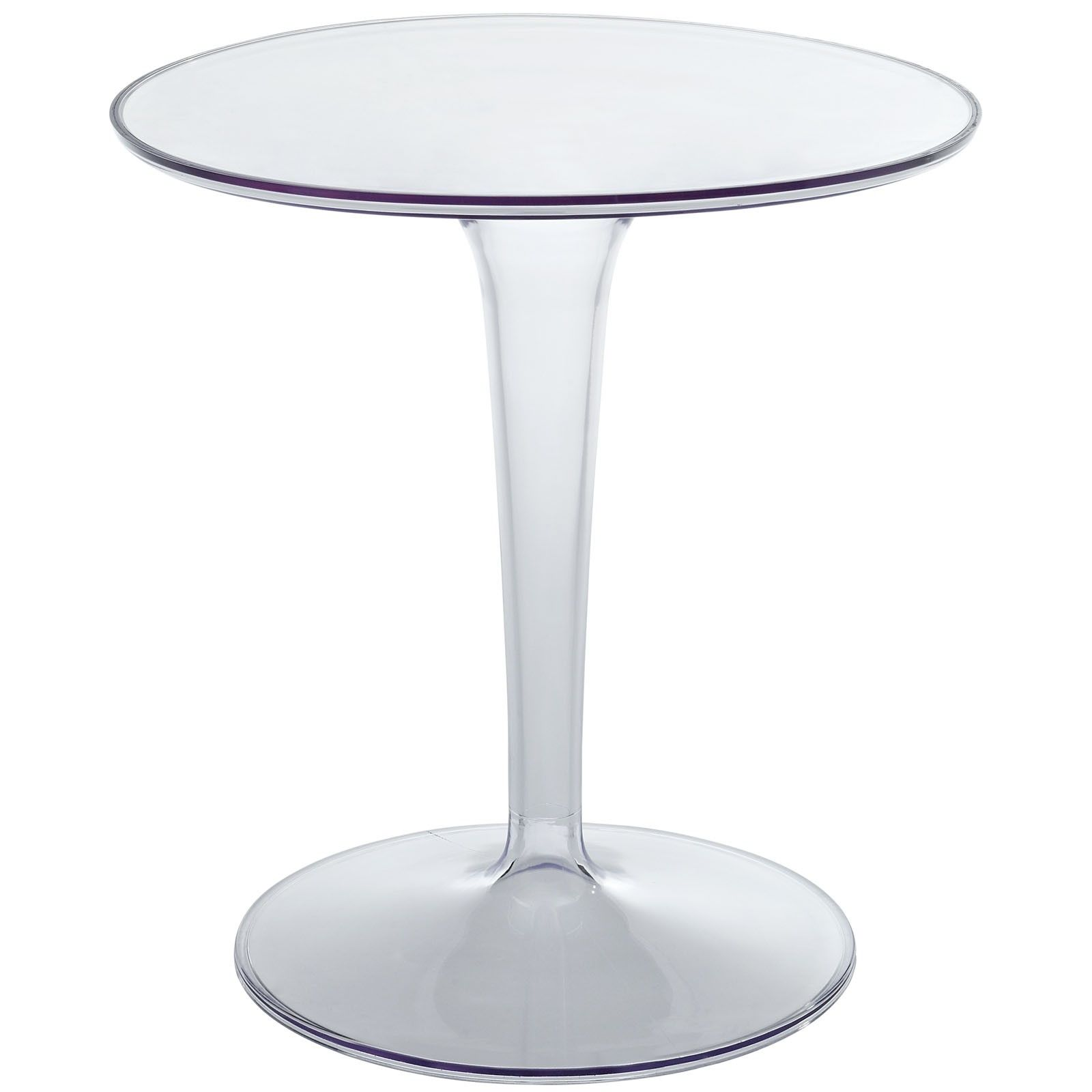 Modern Round Clear Acrylic Side Table Argo Is Perfect For A Casual Supper  Or Classy Dinner. It Is A Transparent Color And Round Shaped Furnishing.  The Slick ...