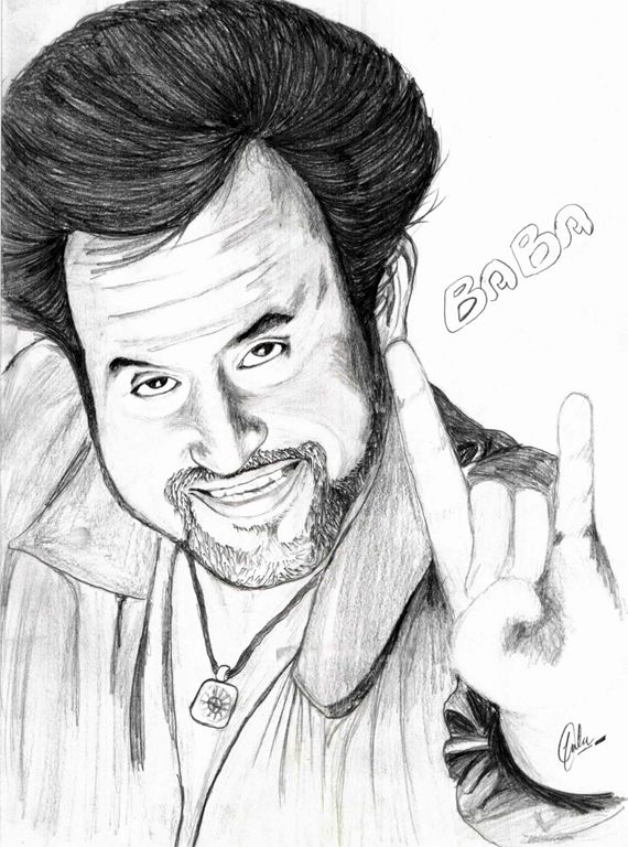 Line Art Simple Rajinikanth Sketch