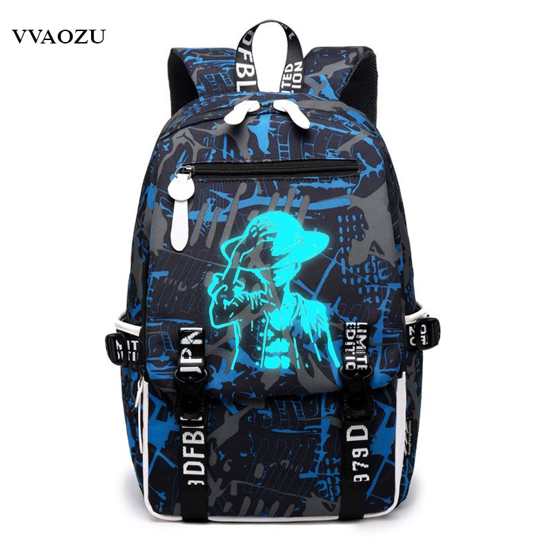Anime One Piece Backpack Luffy Cosplay Laptop Shoulder School Bag Travel Bags