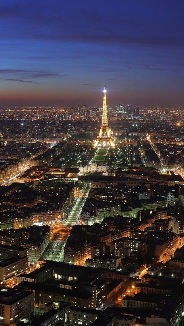 Paris Skyline At Night With Eiffel Tower Paris At Night Night City Beautiful Places To Visit