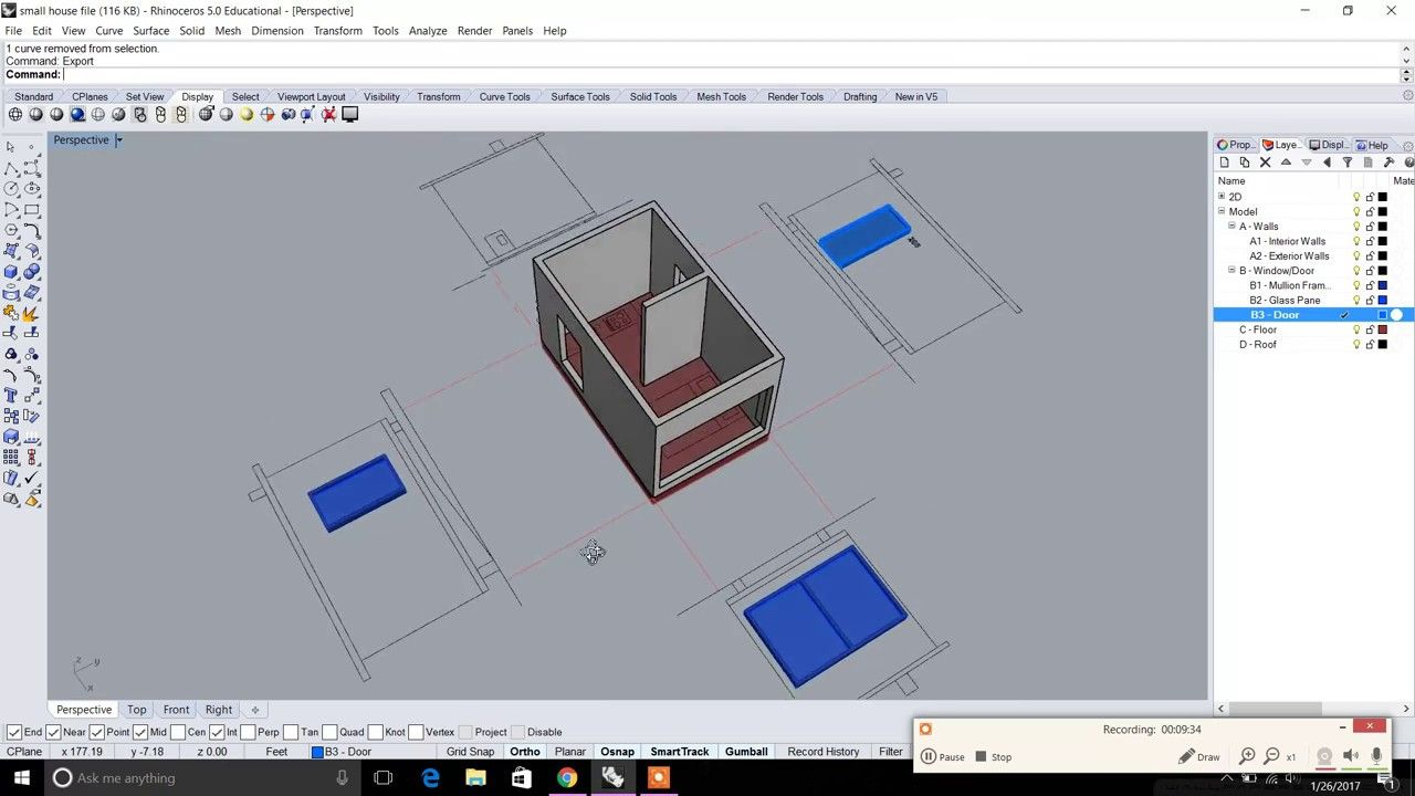 Rhino Beginner Series: Modeling a Small House 01