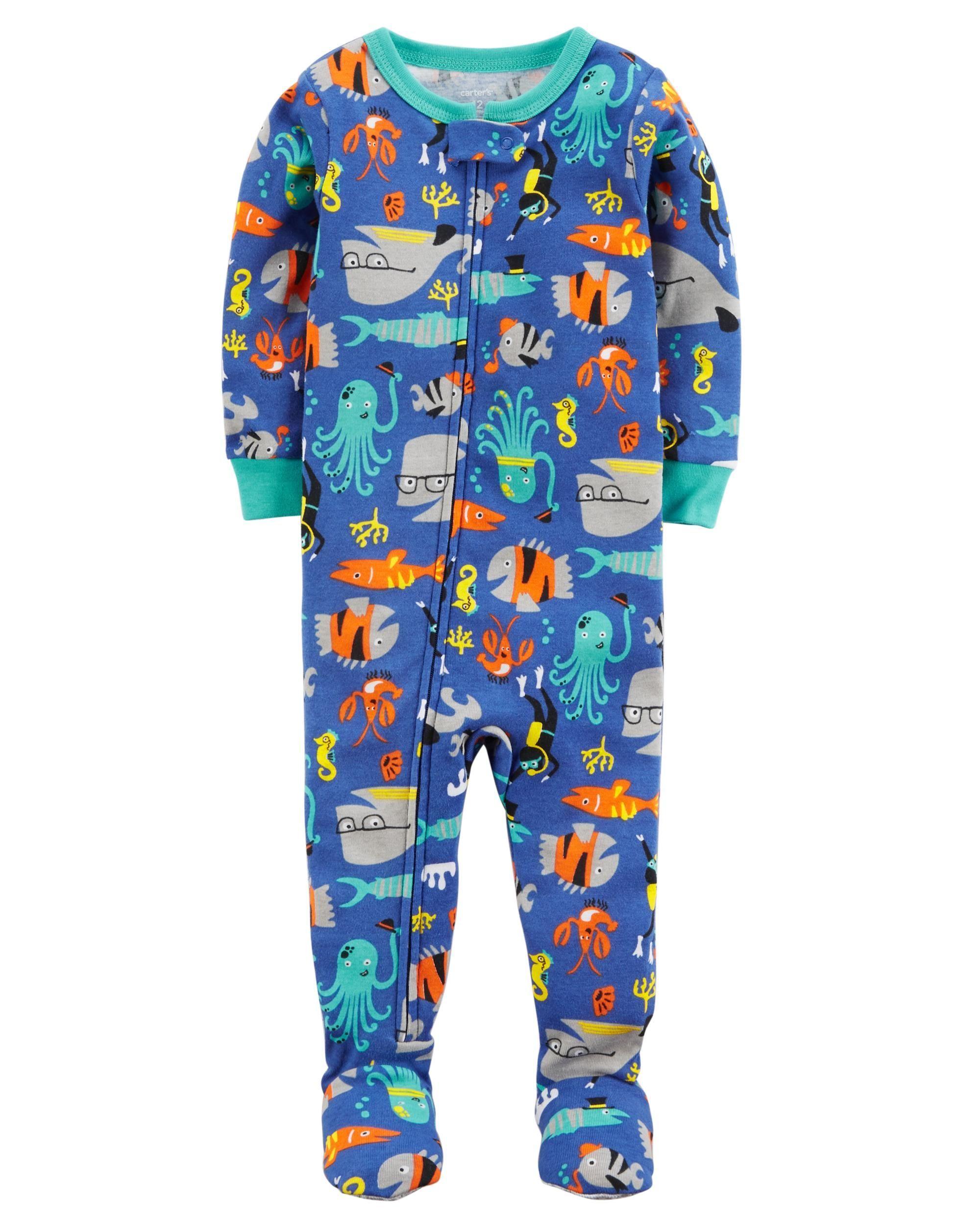 0ab2f43bf82d No slip gripper foot 1-Piece Fish Snug-Fit Cotton PJs