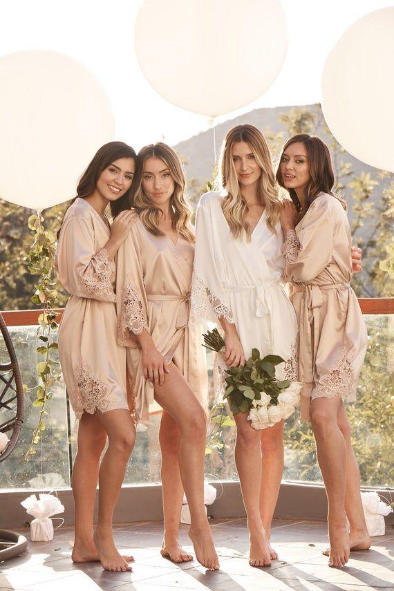 Set Of 5 Bridesmaid Robes | Bridesmaid Gifts | Bridal Party Robes | Lace Robe | Wedding Robes | Lace Bridal Robe | Bride Robe | Demi Robe