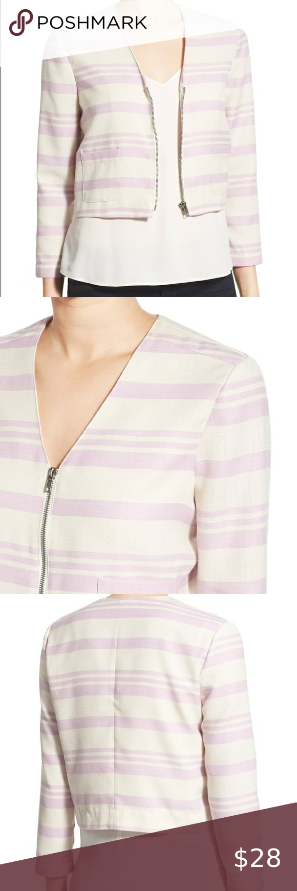 Cupcakes And Cashmere Lavender Stripe Blazer Med Cupcakes And Cashmere Cropped Striped Blazer In Pastel La Elegant Blazers Striped Blazer Cupcakes And Cashmere [ 1740 x 580 Pixel ]