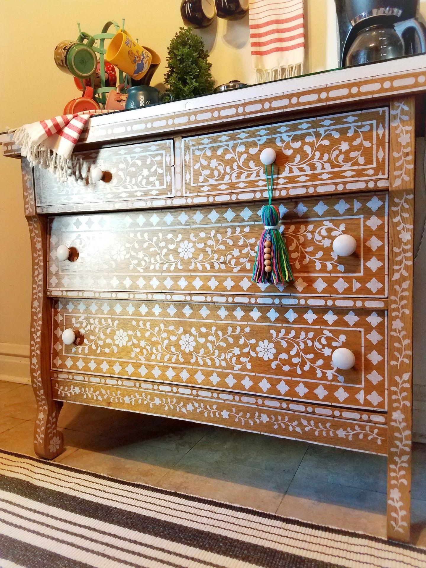 A DIY bone inlay stenciled dresser using the Indian Inlay