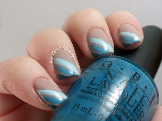 The Nail Polish Challenge Blue Stripe Manicure Taping Nail Art