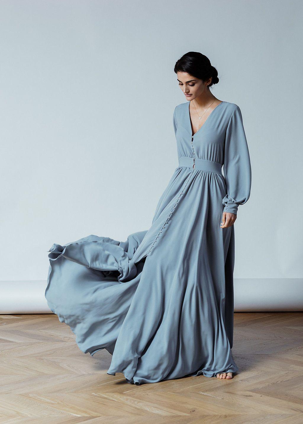 extrem einzigartig Genieße den reduzierten Preis großer Rabatt Graue Langarm Hochzeit Rivera, schlichtes Brautkleid, chiffon ...