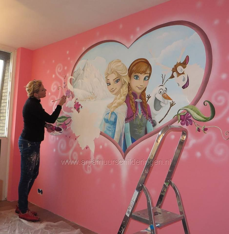 """Cheap Bedroom Sets Kids Elsa From Frozen For Girls Toddler: Gorgeous """"Frozen"""" Theme Mural Hand Painted On A Kid Room"""