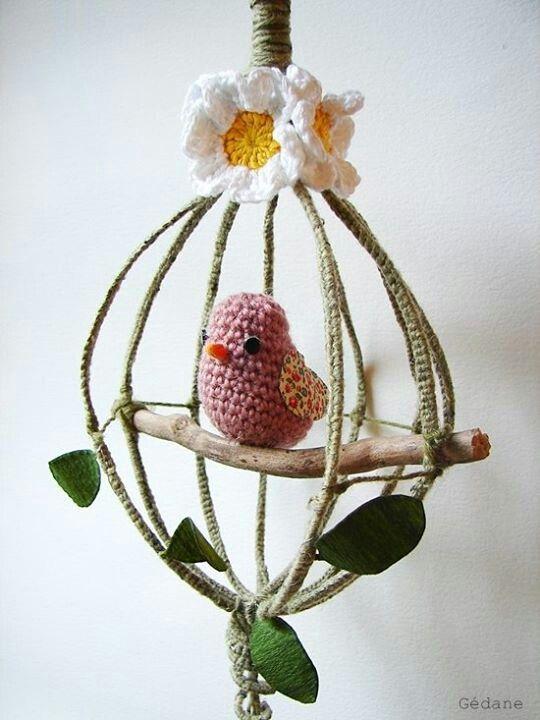 Bird in a Stick Cage | Hækling | Pinterest | Jaulas, Pájaro y Tejido