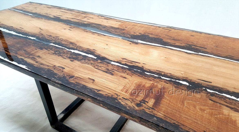 Tavolo Tronco ~ Tavolo in legno e resina con bricole veneziane azimut resine