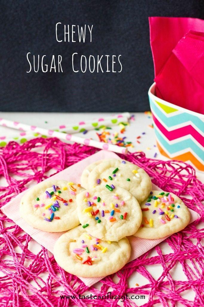 Chewy Sugar Cookies {Tastes of Lizzy T}  Our new favorite sugar cookie! So simple! http://www.tastesoflizzyt.com/2013/08/12/chewy-sugar-cookies/