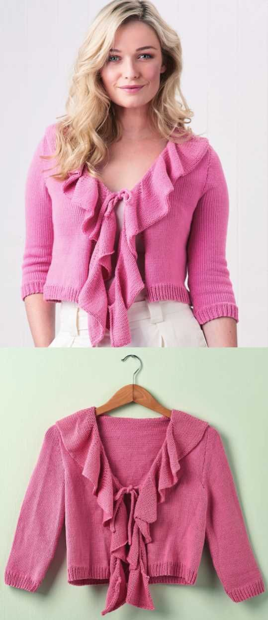 Free Knitting Pattern For A Fluted Ruffle Cardigan Free Womens