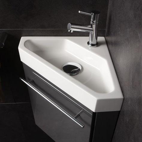 Lave-mains d\u0027angle complet pour WC avec meuble couleur gris