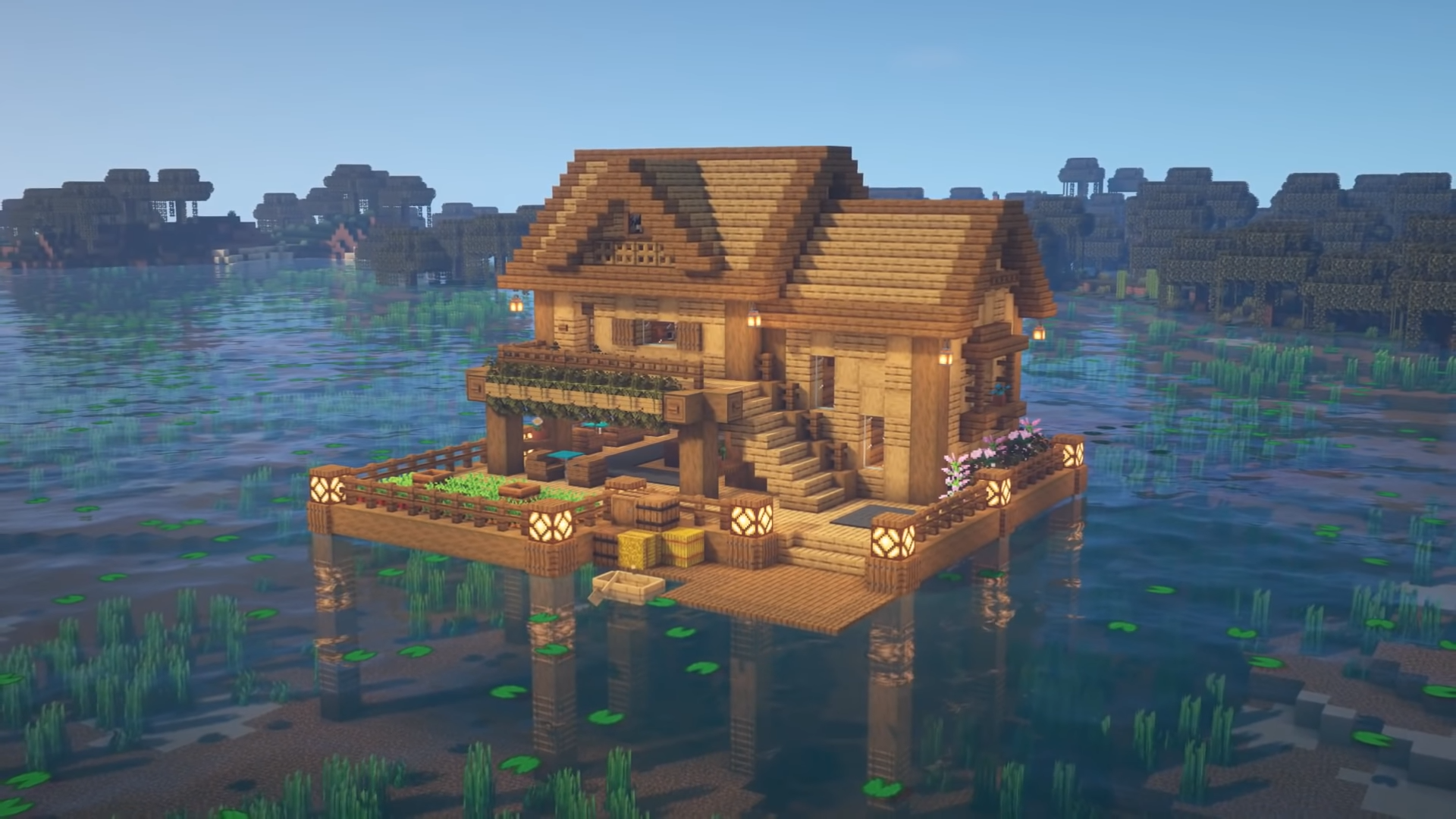 How To Build A Lake House Minecraft Tutorial Cute Minecraft Houses Minecraft Cottage Minecraft Water House